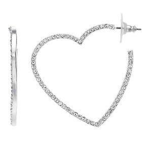 NINE WEST Nickel Free Crystal Heart Hoop Earrings